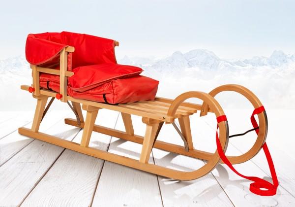 Hörner-Schlitten 125 cm | Buche Massivholz | Sport-Qualität | Rot