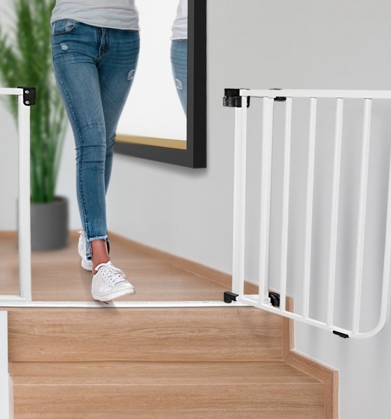 IMPAG® Tür- und Treppenschutzgitter Safe Step Polar-Weiß 123 - 132 cm