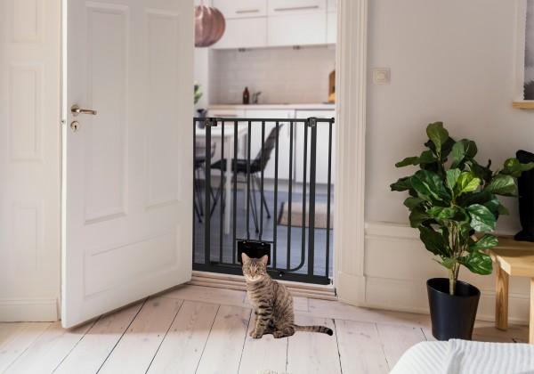 IMPAG® Katzenschutzgitter Mio 107 cm hoch Schwarz | 91 - 97 cm