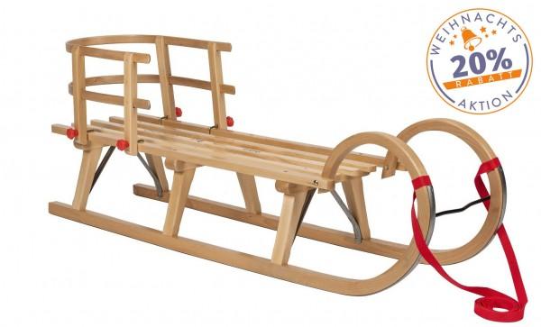 Hörner-Schlitten 115 cm | Buche Massivholz | Sport-Qualität