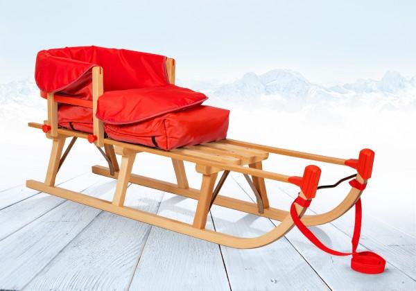 Davoser Schlitten 125 cm | Buche Massivholz | Sport-Qualität | Rot